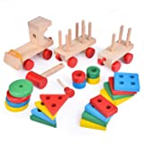 """15.5"""" Wooden Stacking Toys Train with Shape"""