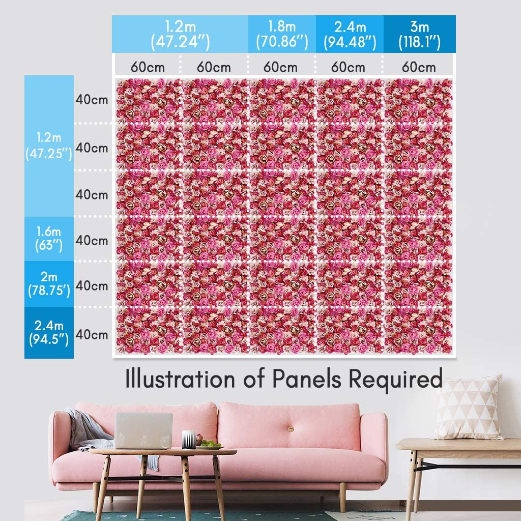 Shiwaki Flower Panels Artificial Flowers Wall Screen Romantic Floral Backdrop Hedge Home Decor Wedding Party Background Red Rose