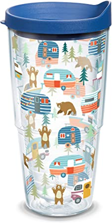 Amazon Com Tervis Trailer Bears Insulated Tumbler With Wrap And Blue Lid 24oz Clear Tumblers Water Glasses