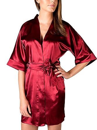DKaren Ladies Satin Dressing Gown short satin Robe - Made in EU (Claret 052dfbda0