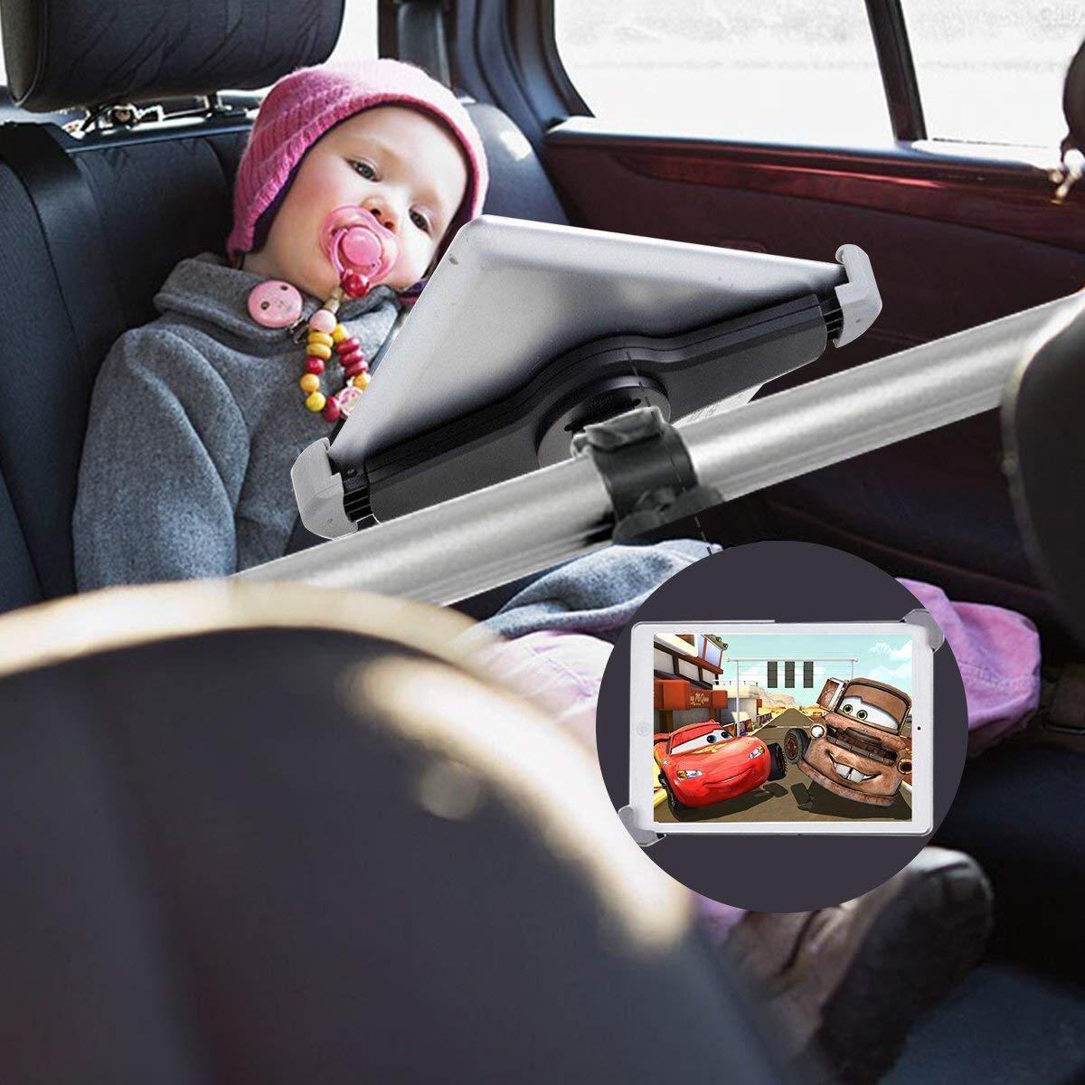 CEStore Airflow Design in-car Backseat Headrest Spring Loaded Telescopic Arm Extendable Mount Holder Universal in-car Back Seat Portrait Landscape View Mount Tablet Laptop PC Holder Stand