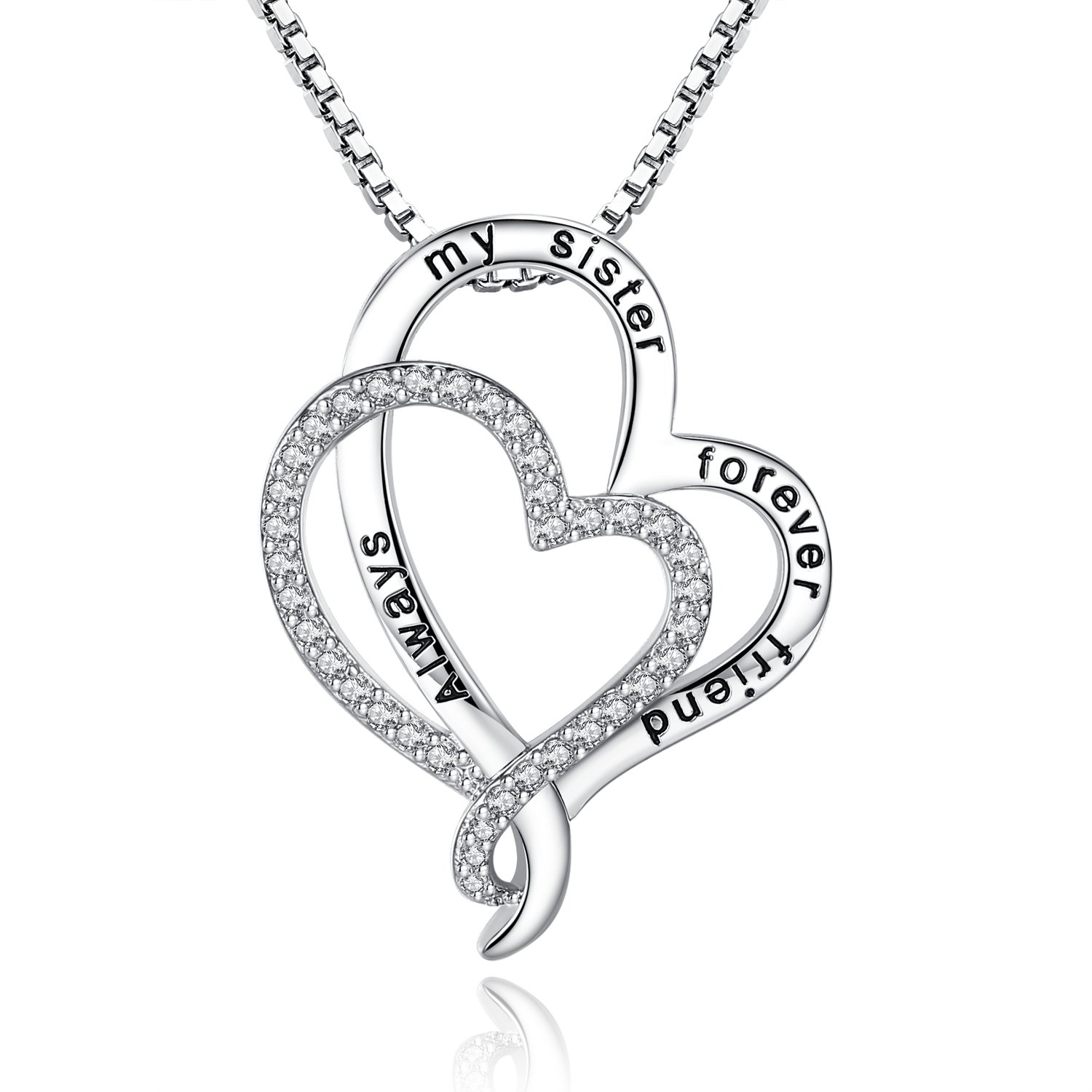 ab0dfe55ab This Love Heart Friendship sister necklace is stamped with \'always my sister  forever friend\'. Inner Diameter: 21mm; Width: 28mm; this pendant necklace  ...