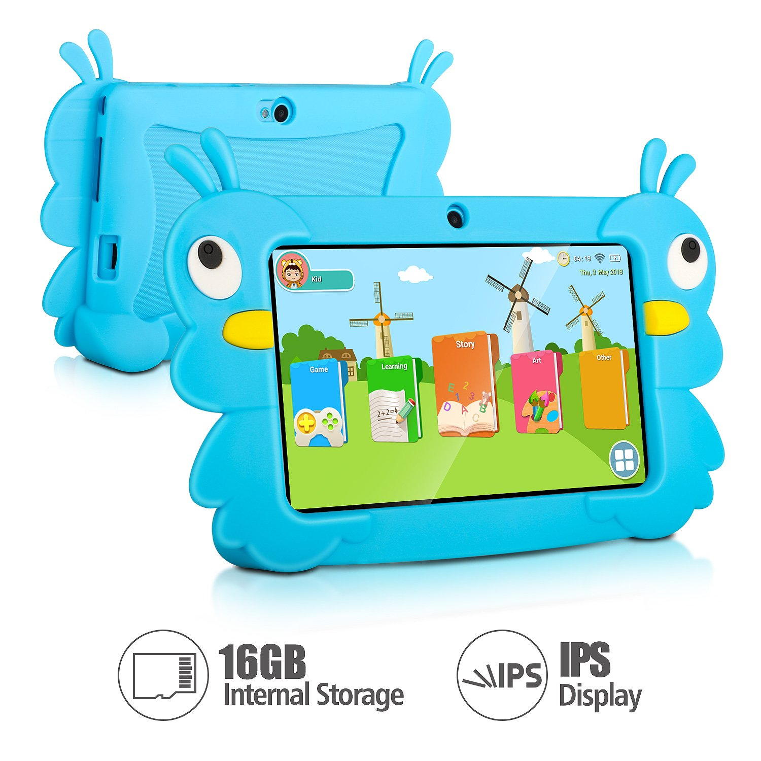 7 Inch Kids Tablet PC Quad Core 1024600 IPS Eye Protect Display 1GB RAM 16GB Storage Bluetooth WiFi Dual Camera with Kids Educational Software Parental Control (Blue)