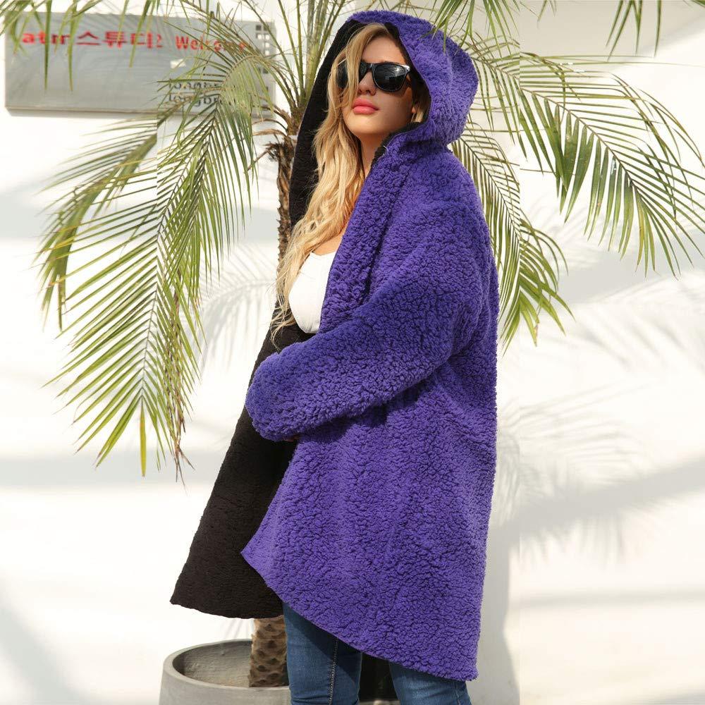 Amzeca Womens Warm Artificial Wool Coat Jacket Winter Parka Outerwear
