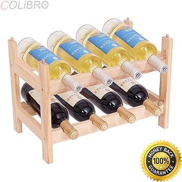 Amazoncom Colibrox 8 Bottle Wood Wine Rack Holder 2 Tier Storage