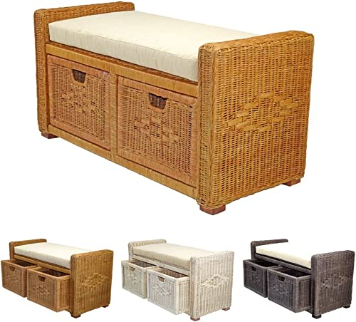 Rattan Wicker Bruno Handmade 35″ Chest Storage Trunk Organizer Ottoman Two Drawers Colonial Light Brown