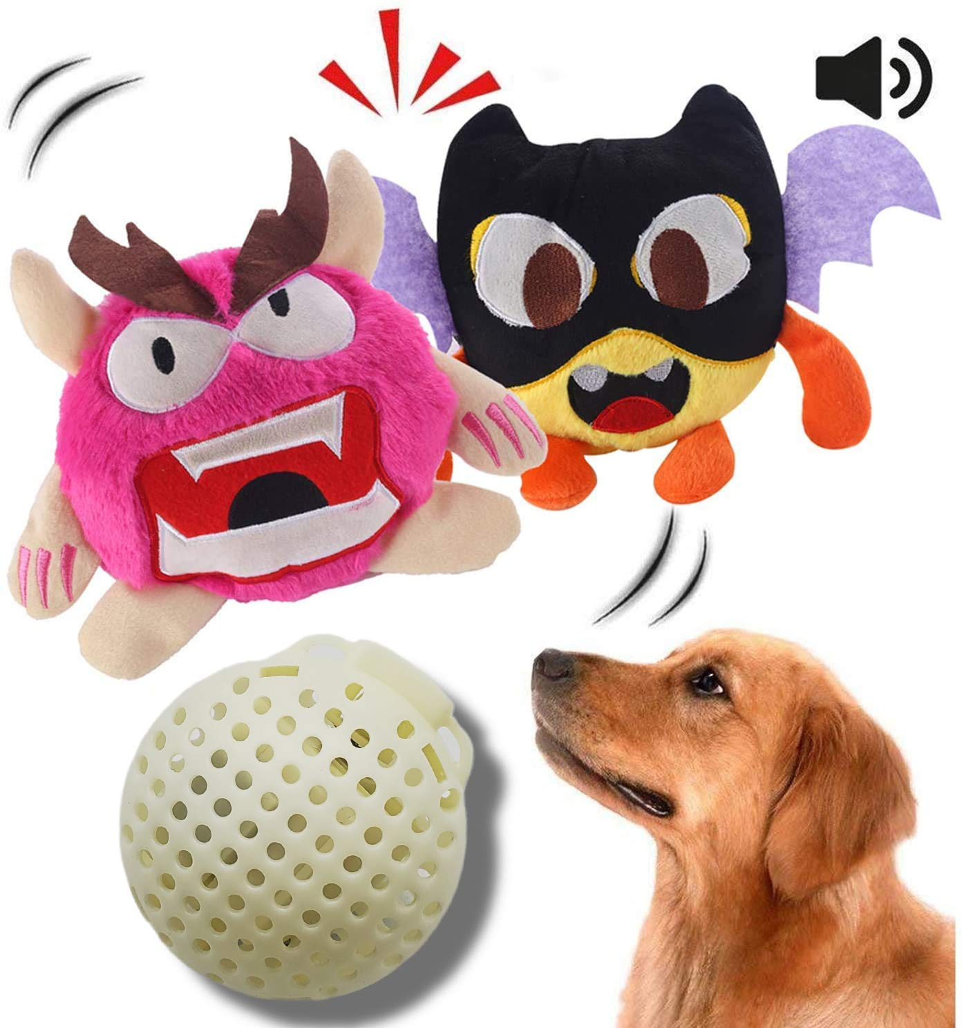 NEILDEN Upgrade Interactive Squeaky Dog Toys Plush Puppy Chew Toys Giggle Dog Balls Durable for Tug and Fetch Pet Toys for Small to Medium Dogs (Two Plush Toys+Squeaky Ball