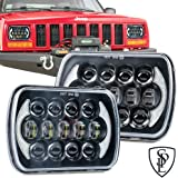 105W Brightest 5''x7''/7''x'6'' Projector Osram Led Headlights with DRL for Jeep Wrangler YJ Cherokee XJ H6054 H5054 H6054LL 69822 6052 6053 (Black Pair)