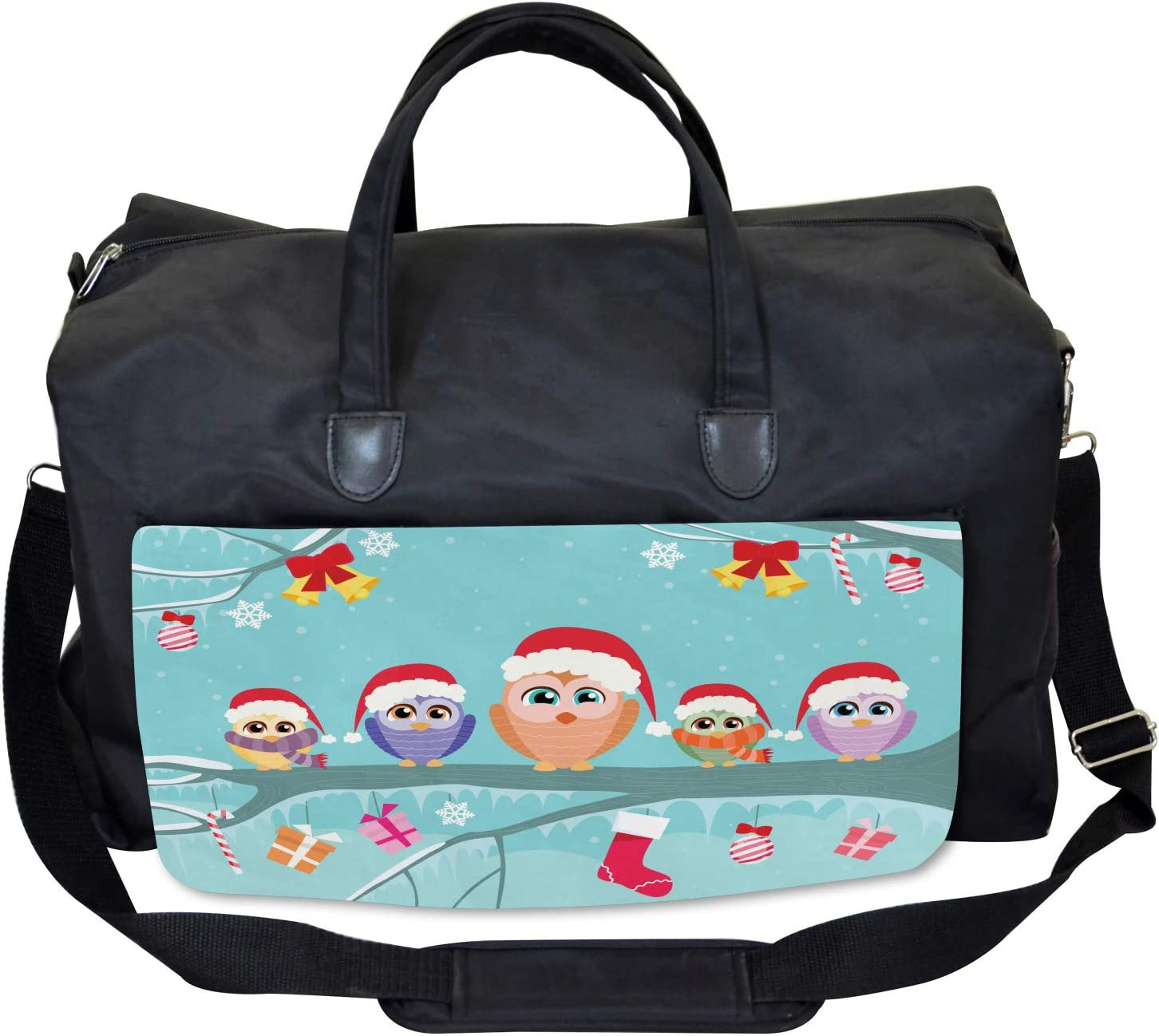 Large Weekender Carry-on Ambesonne Christmas Gym Bag Cute Owl Family Tree