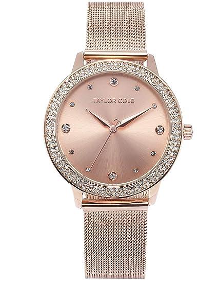 Taylor Cole TC071 - Reloj Mujer Cuarzo de Acero Inoxidable Rosa Dorado   Amazon.es  Relojes 5f81029cb1f8