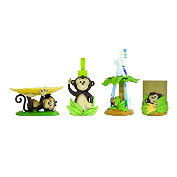 Modona Four Piece Kids Bathroom Accessories Set Monkey