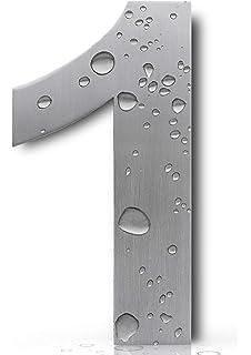 Royal H&H - Placa de acero inoxidable pulido de níquel cepillado con números de casa grandes