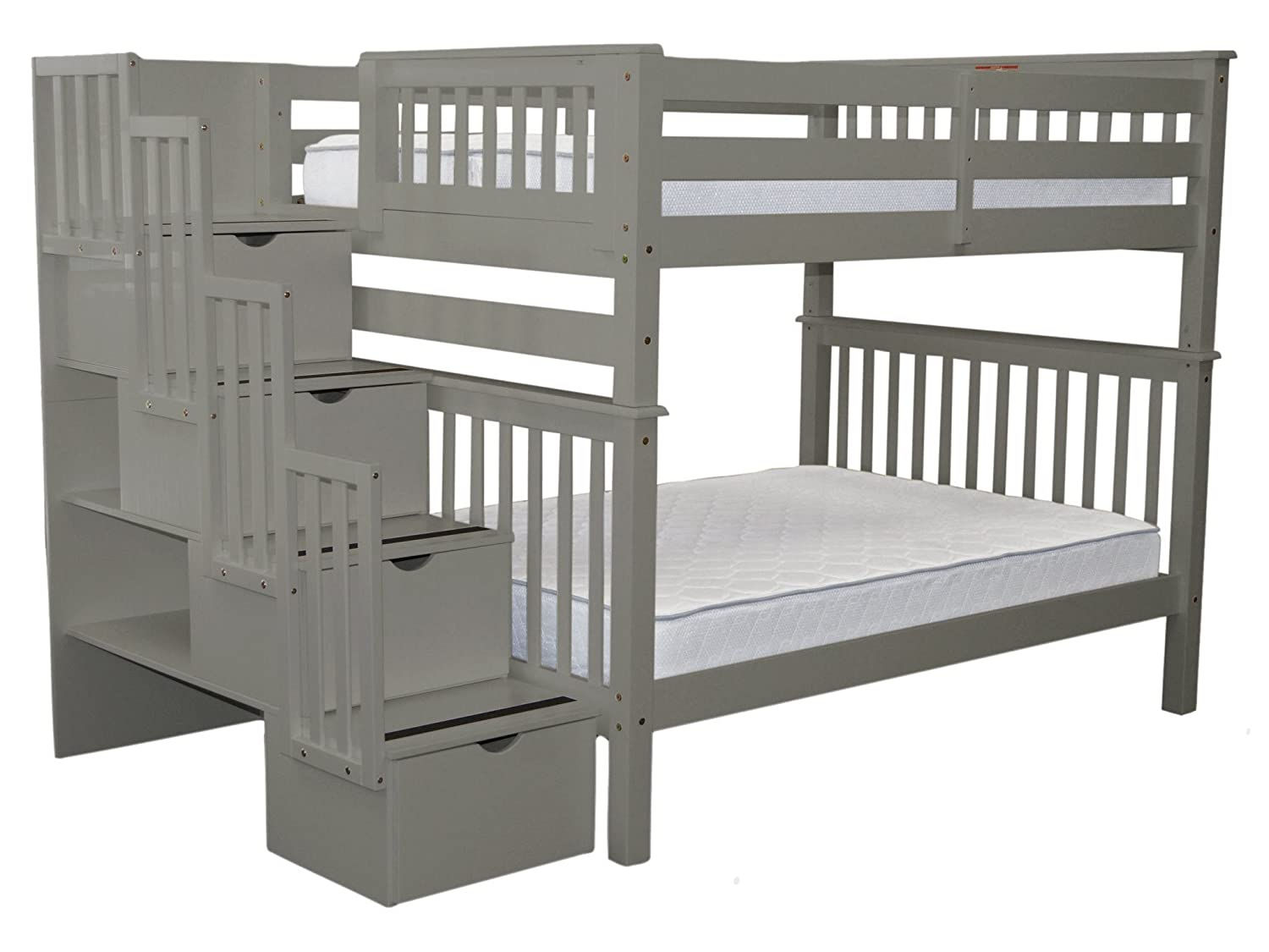 Bedz King Stairway Bunk Beds Full over Full with 4 Drawers in the Steps, Gray