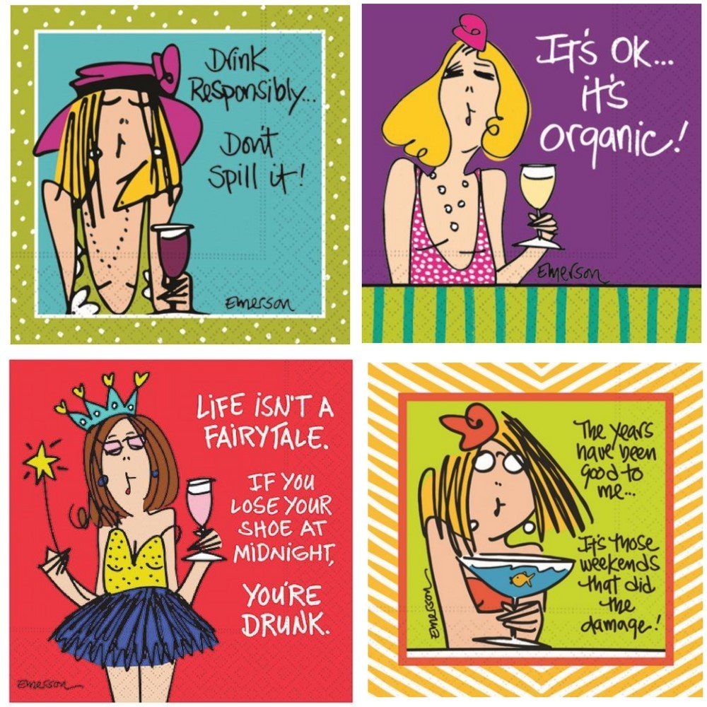 Funny Cocktail Napkins for Women Fun Ladies Night Variety Pack 40 Total Paper Napkins