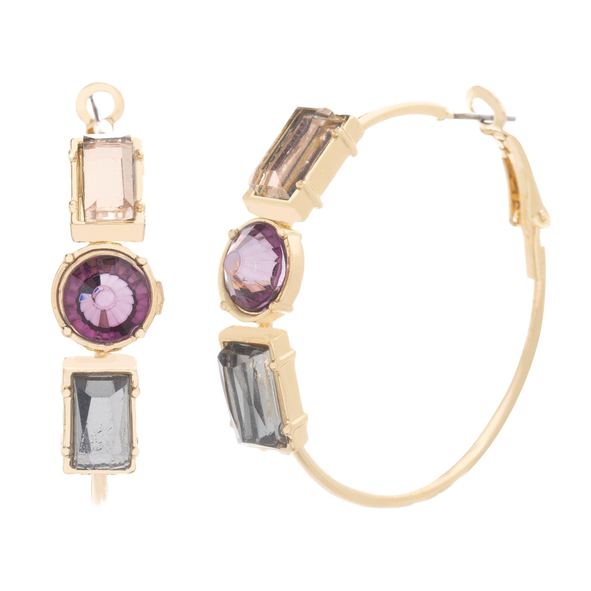 Catherine Malandrino Women's 44mm Multi-Tonal Stone Large Yellow Gold-Tone Hoop Earrings (Purple)
