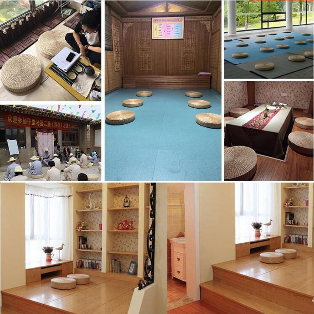 Eshow Japanese Tatami Floor Pillow Zafu Natural Seat Furniture Meditation Furniture Floor Mat Cushion Yoga mat Multi-Functional Handmade Eco-Friendly Breathable Circle,Beige