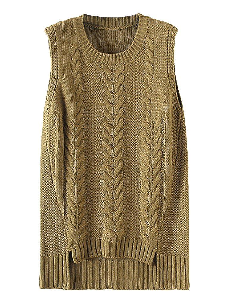 MatchLife Damen Baumwoll Pullunder Casual Sweater Strick Weste Strickwaren Freizeit Tops mit Zopfmuster