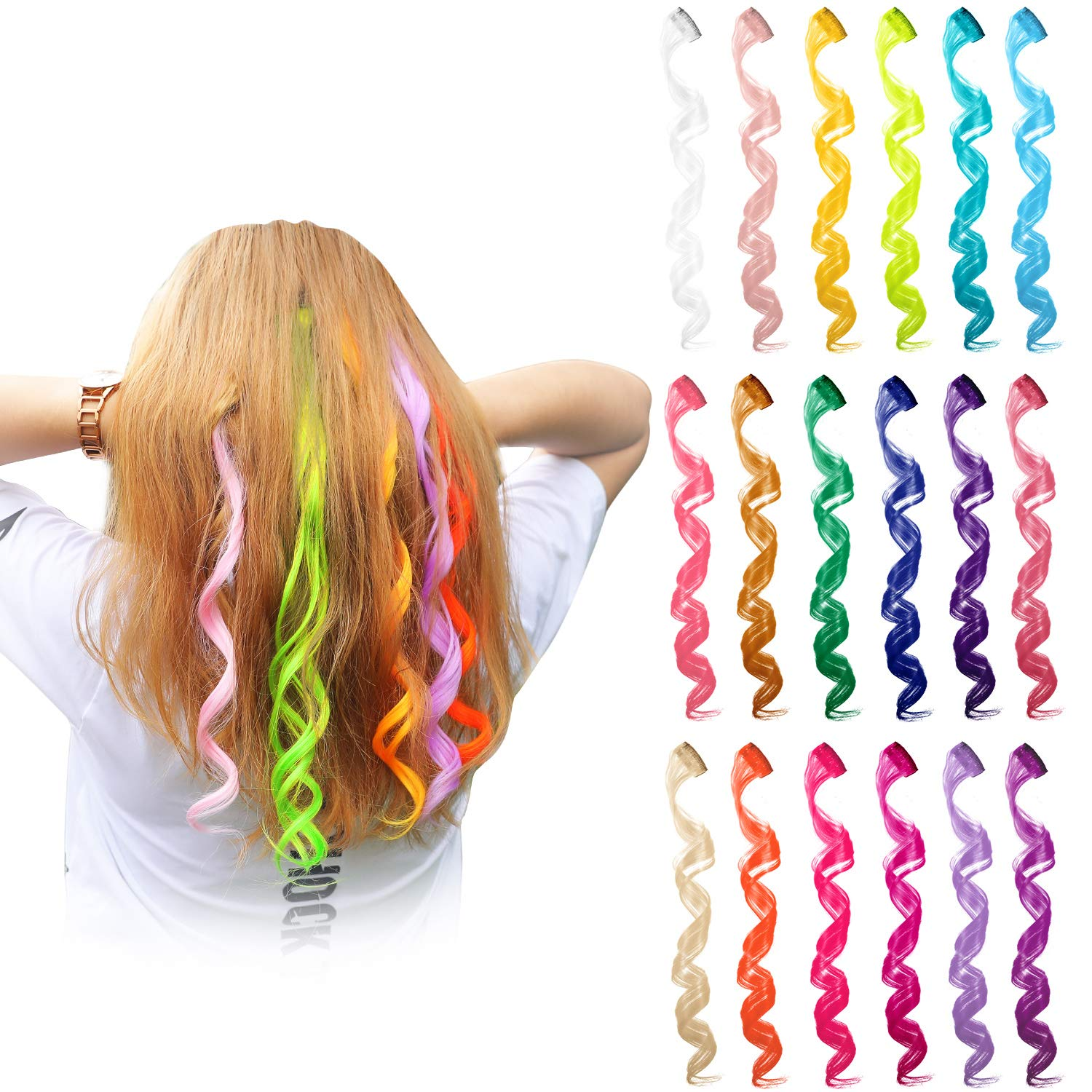24 Pieces 24 Colors Multi-Colors Clip on in Hair Extensions Hair Pieces Colored Party Highlights DIY Hair Accessories Extensions 20 Inches Long Hair for Girls Women (24 Colors, Curly Wave) by Blulu