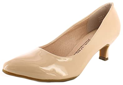 53e4db8cdb0 New Womens Ladies Nude Patent Wide Fit Kitten Heel Court Shoes - Nude  Patent -