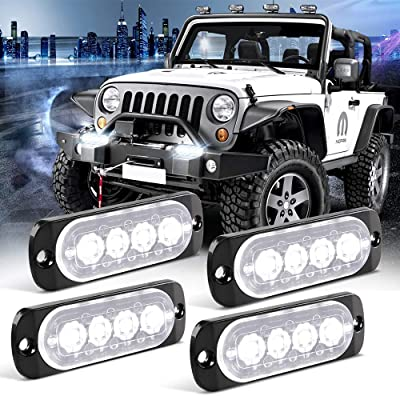 KaiDengZhe 4pcs 4LED White Ultra Thin Sync Feature Car Truck Mount Surface Caution Emergency Beacon Hazard Flash Warning Strobe Light Bar 12-24V: Automotive