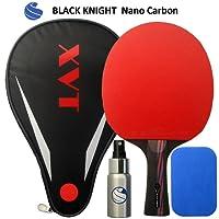 """Xvt """"Caballero Negro 40+ raqueta de tenis de mesa de carbono y caso–C/W Super Spritzer de goma limpiador y esponja–competición, ittf aprobado Sticky Cauchos"""