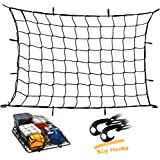 """Upgraded Latex Bungee Cord Cargo Net, Kindax 47"""" x 36"""" Cargo Net with 12 big removable Hooks Stretches to 80"""" x 60"""" for the Secure Carrying on Roof Luggage Rack, Cargo Carrier and Pickup Truck Bed"""