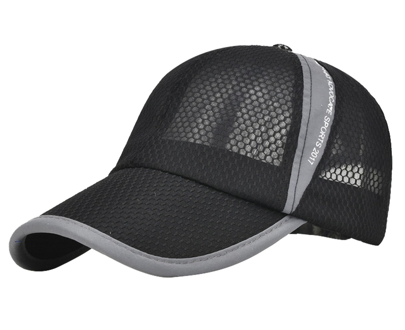 Men's Women's Peaked Mesh Sunscreen Cap Sports Hats for Fishing Tennis Baseball Beach Board Running Hiking Travelling Outdoor Light Black