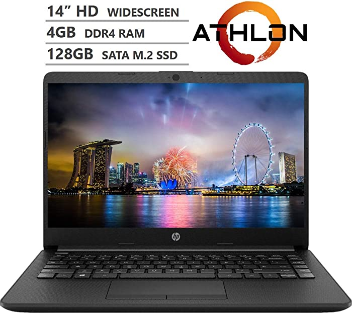 "HP 14 14"" HD SVA Anti-Glare Micro-Edge WLED-backlit Laptop for Students, AMD Athlon 3050U 2.3GHz up to 3.2GHz, 4GB DDR4, 128GB SSD, Wi-Fi 5, Bluetooth 4.2, HDMI, Webcam, Windows 10 S, Accessory Bundle"