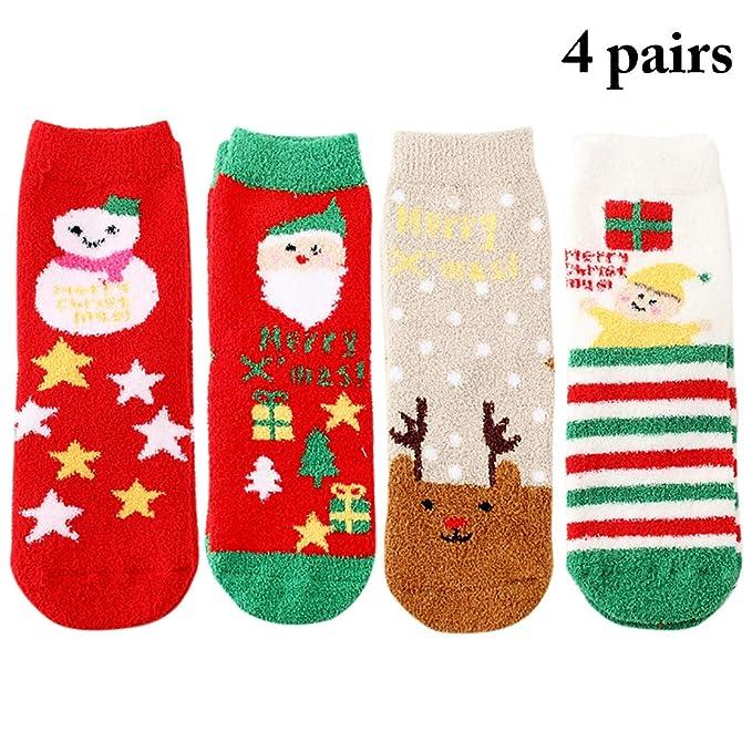 Zoylink Calcetines De Navidad Para Mujer Calcetines De La Tripulación Patrón Lindo Calcetines De Navidad De Invierno Cálido: Amazon.es: Ropa y accesorios