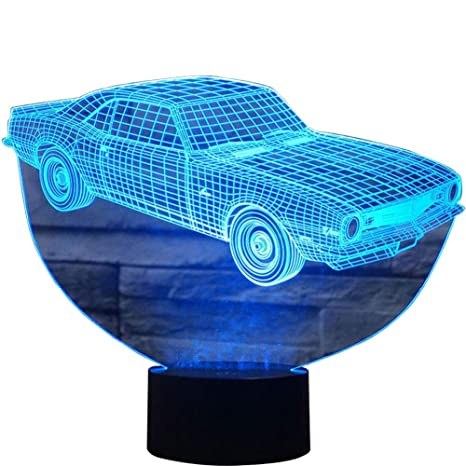 3d Illusion Muscle Car Shaped Soft Multi Colored Change Remote