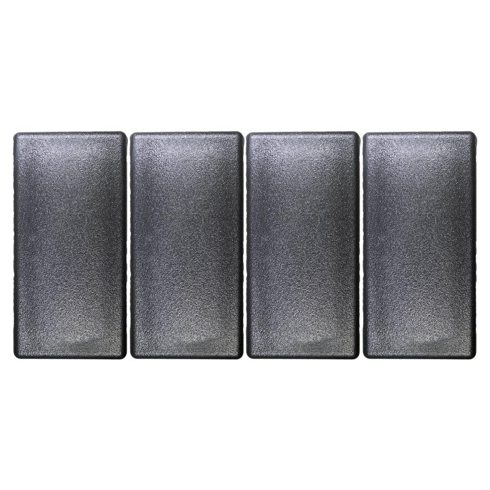 1 1//2 x 3 Inch Rectangle Black Plastic Plug End Cap Prescott Plastics 4 Pack