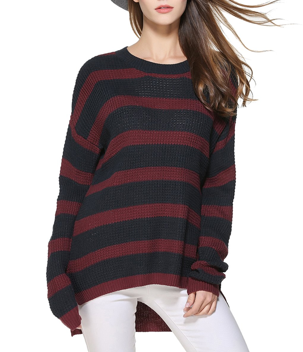 LemonGirl Women's Fashionable Long Sleeve Knitted Loose Pullover Sweater