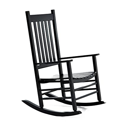 Outsunny Porch Rocking Chair   Outdoor Patio Wooden Rocker   Black