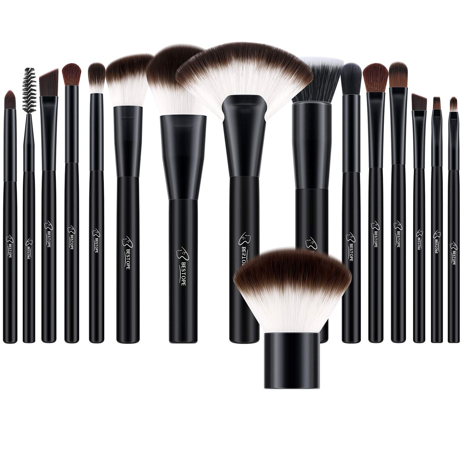 BESTOPE Makeup Brushes Set 16 PCs Cosmetic Blush Brushes Premium Synthetic for Foundation Blending Powder Concealers Eye Shadows Brushes Kit