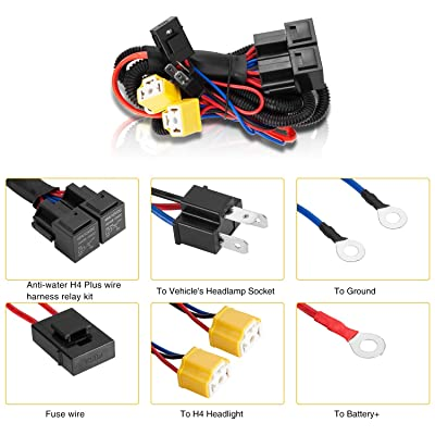 LIMICAR H4 9003 Relay Wiring Harness H6054 H4 Socket Plugs ... on oxygen sensor extension harness, pet harness, safety harness, pony harness, battery harness, engine harness, obd0 to obd1 conversion harness, dog harness, electrical harness, fall protection harness, alpine stereo harness, radio harness, amp bypass harness, suspension harness, maxi-seal harness, nakamichi harness, cable harness,
