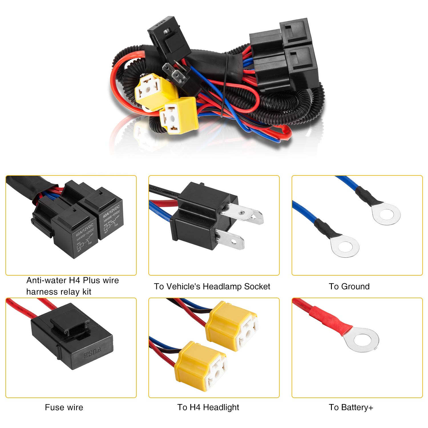 Kentucky Wiring Harness Library Trailer Diagram Amazoncom Limicar 2pcs H4 Socket 9003 Hb2 Wire Compatible With 7