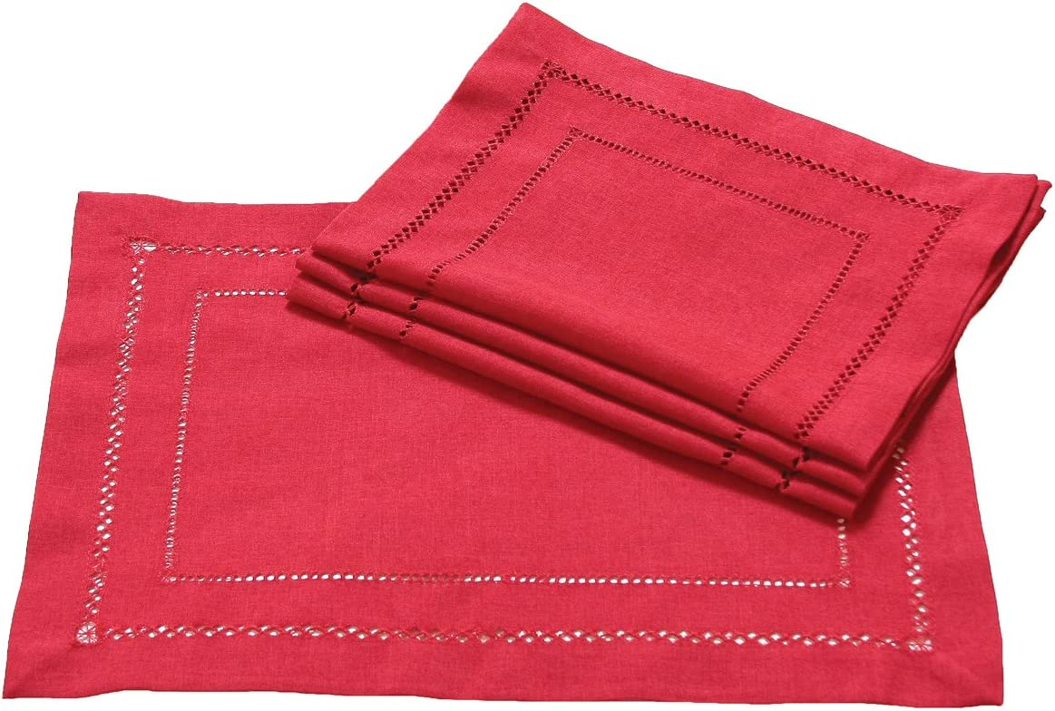 Xia Home Fashions Double Hemstitch Easy Care Placemats, 13 by 19-Inch, Red, Set of 4