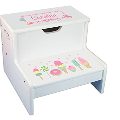 Personalized White Step Stool and Storage with Sweet Treats Candy Design: Baby