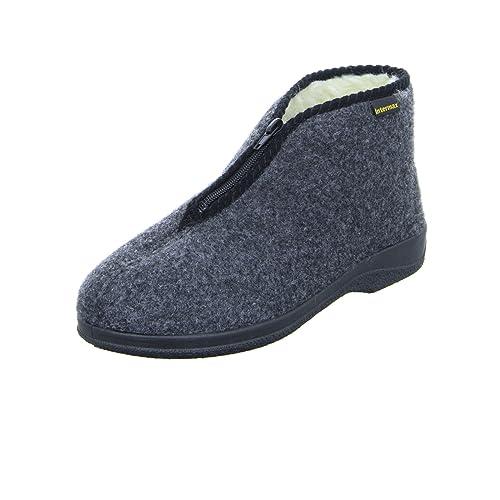 Zapatillas de estar por casa Intermax, para hombre, con cremallera, forro de lana y fieltro color antracita: Amazon.es: Zapatos y complementos