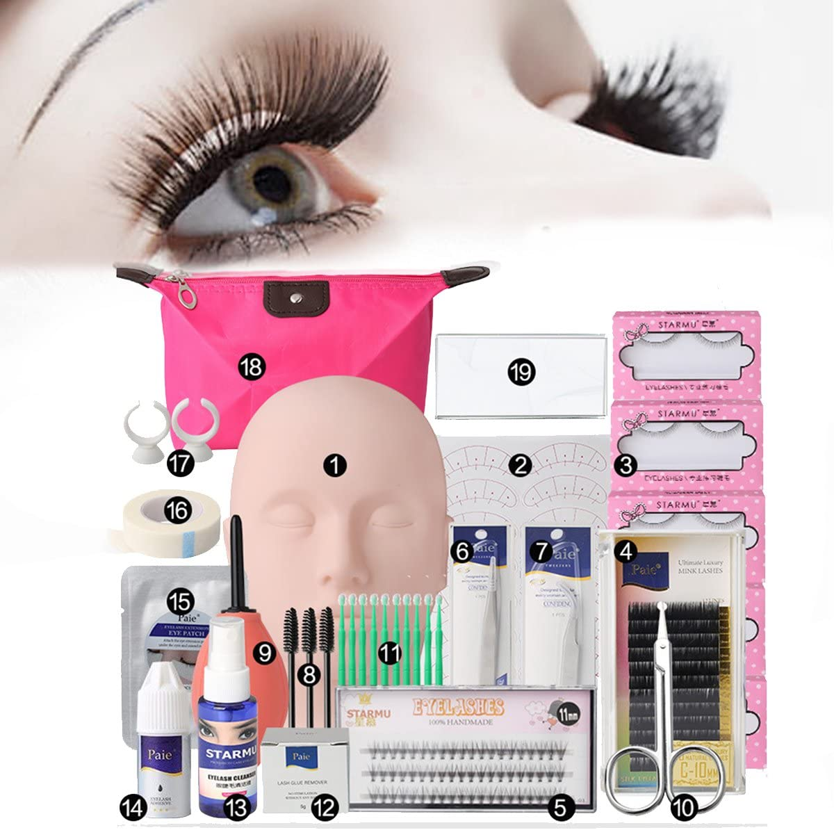 Juego de extensión de la pestaña, Luckyfine Pestañas postizas extensión entrenamiento herramienta de maquillaje, Kit de práctica con bolsa (19pcs)