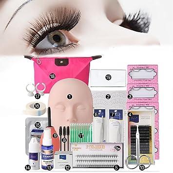 1db00953255 Amazon.com : LuckyFine Pro 19pcs False Eyelashes Extension Practice  Exercise Set, Professional Head Model Lip Makeup Eyelash Grafting Training  Tool Kit ...