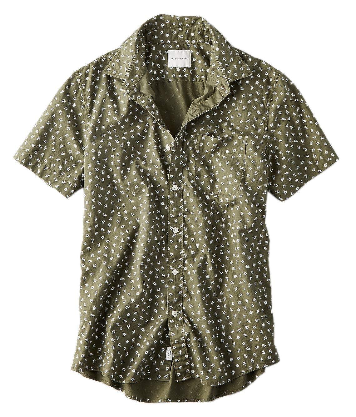 American Eagle 1615309 Camisa de popelín de Manga Corta para ...