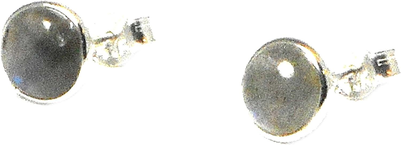 Art Gecko Pendientes de tuerca de plata de ley con forma redonda de labradorita – 7 mm