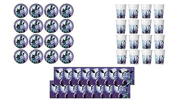 ALMACENESADAN 2564; Pack Desechables Vampirina; Compuesto por 16 Platos 23 cm; 16 Vasos y 16 servilletas; Ideal para Fiestas y cumpleaños