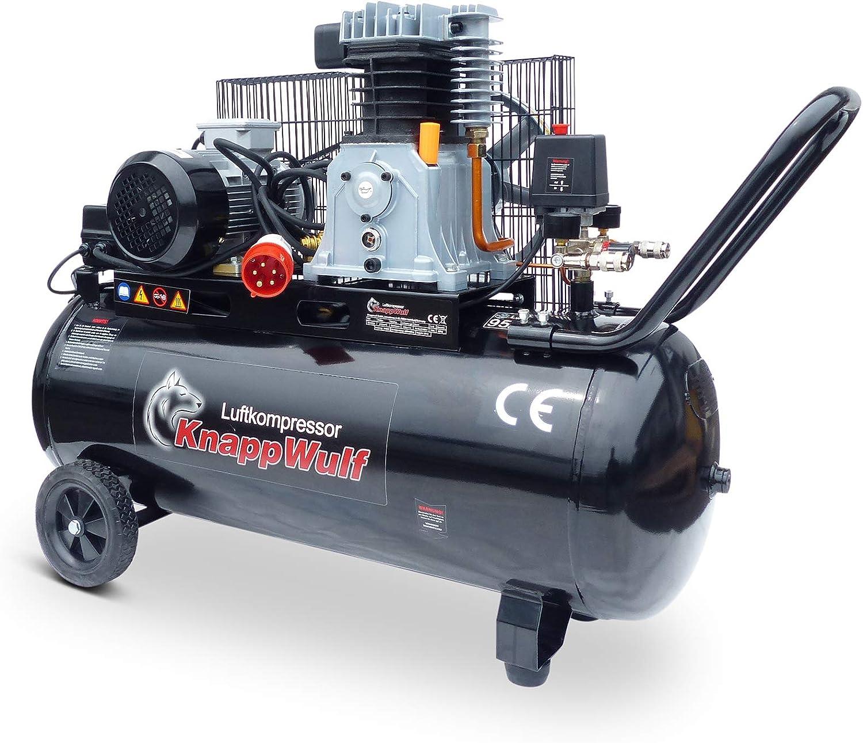 Knappwulf Kompressor Kw3300 Druckluftkompressor 100l Kessel Riemenantrieb 400v Mit 320l Liefermenge Baumarkt