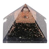 Aatm - Pyramide Reiki en orgonite et tourmaline noire stimulée pour soin des chakras (pierre de protection contre les énergies négatives)
