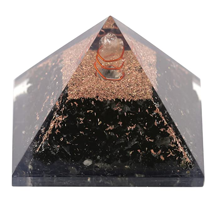Aatm Healing Gemstone Black Tourmaline Orgone Pyramid Stone for Positivity