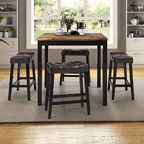 Dining Table Set, Rockjame 5 Piece Marble Top Counter Height Table Set with 4 Leather-Upholstered Stools, Perfect for The Bar, Breakfast Nook, Kitchen Room and Dining Room Brown