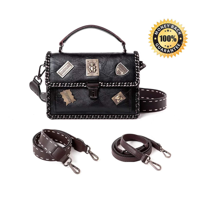 12db67148d2 Cross Body Fashion Rivet Chain Bag Single Shoulder PU Leather Side Purse  Messenger Bag Hand bag for Women and Girls