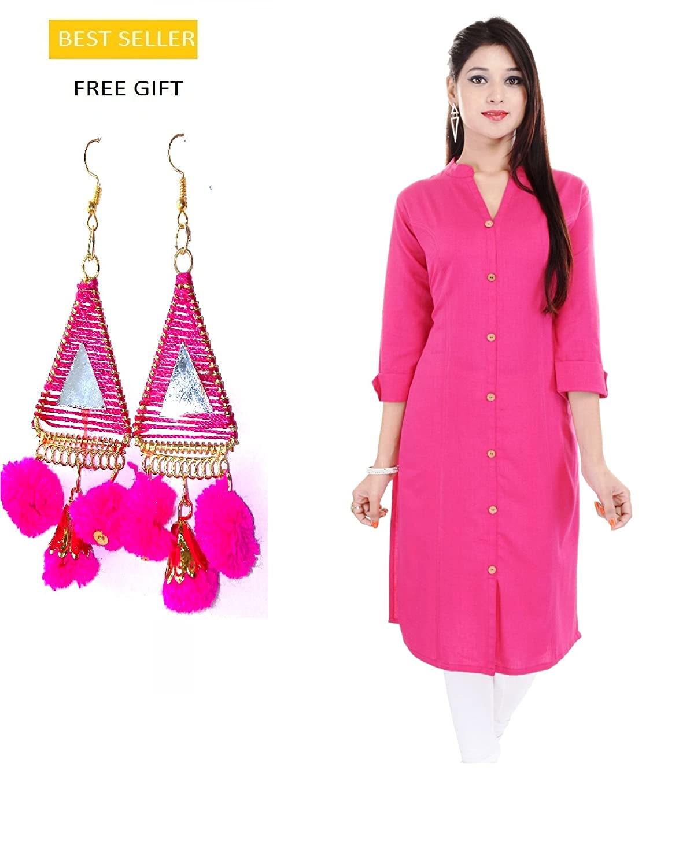 Indian Pink Straight Cotton Kurti/Kurta for Women Earring Generic RG-KUR-003